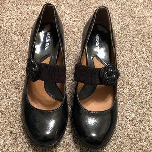 Merona shiny black heels - patent leather look